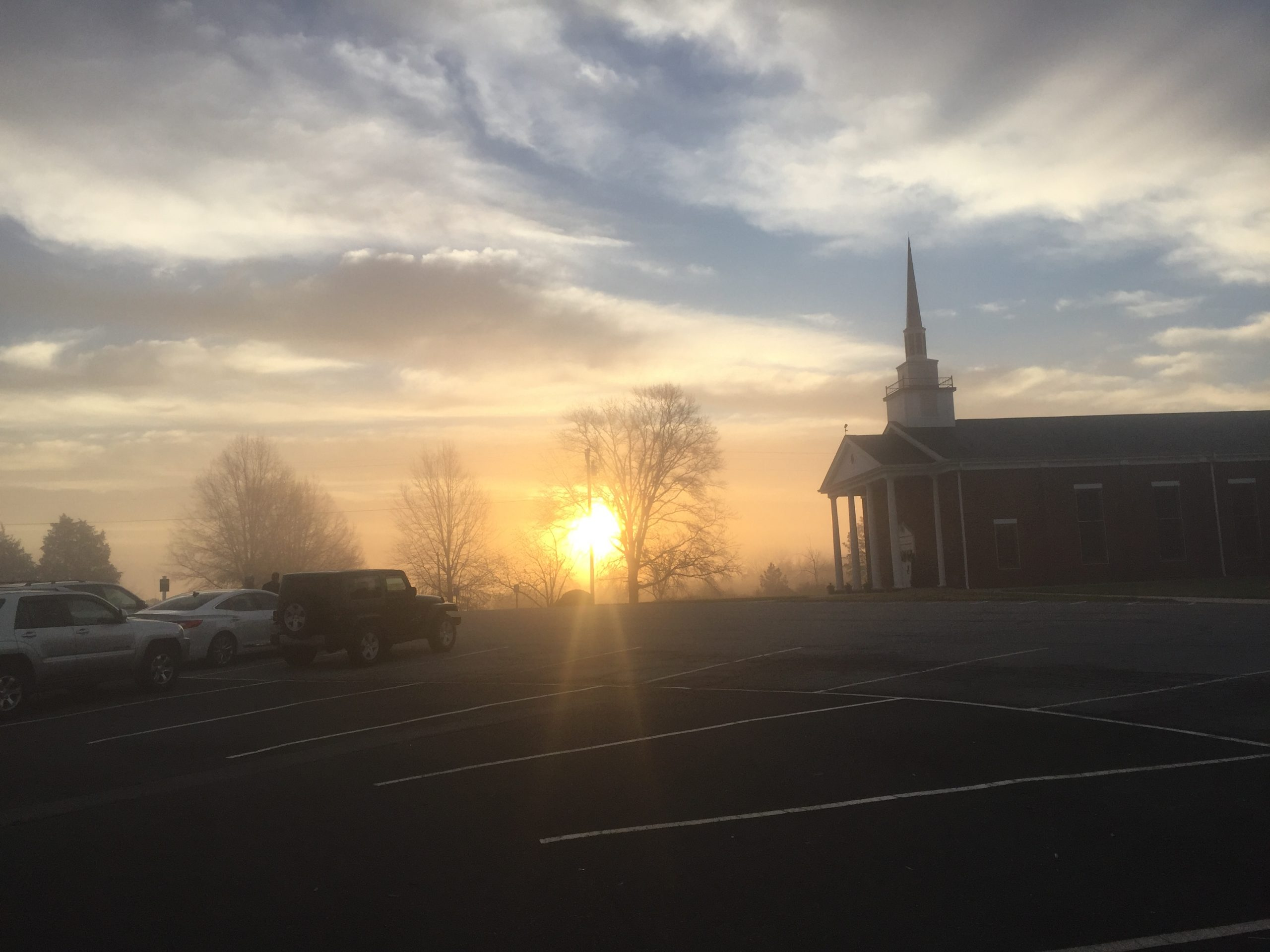 Mission church sunrise