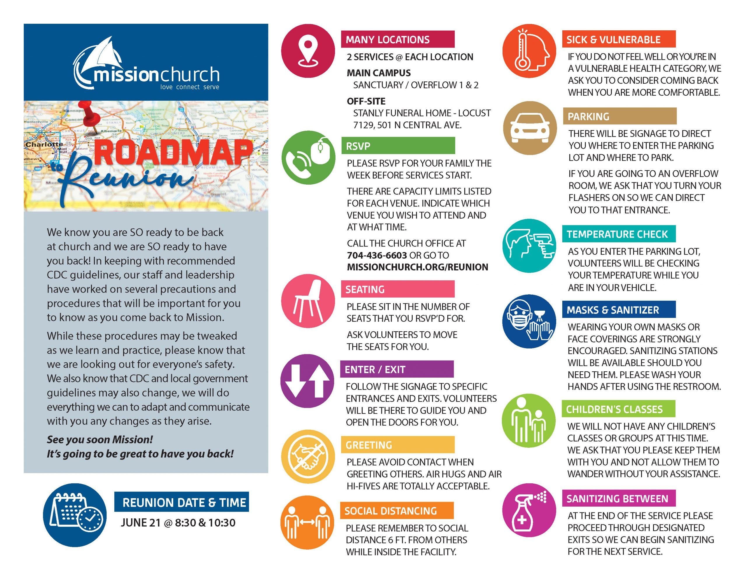 Roadmap to Reunion Precautions